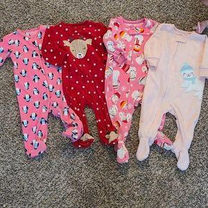 Baby Girl Carters 4pk Fleece Sleeper Bundle